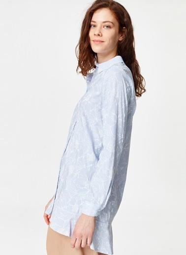 Mizalle Çiçek Desenli Tunik Gömlek  Mavi